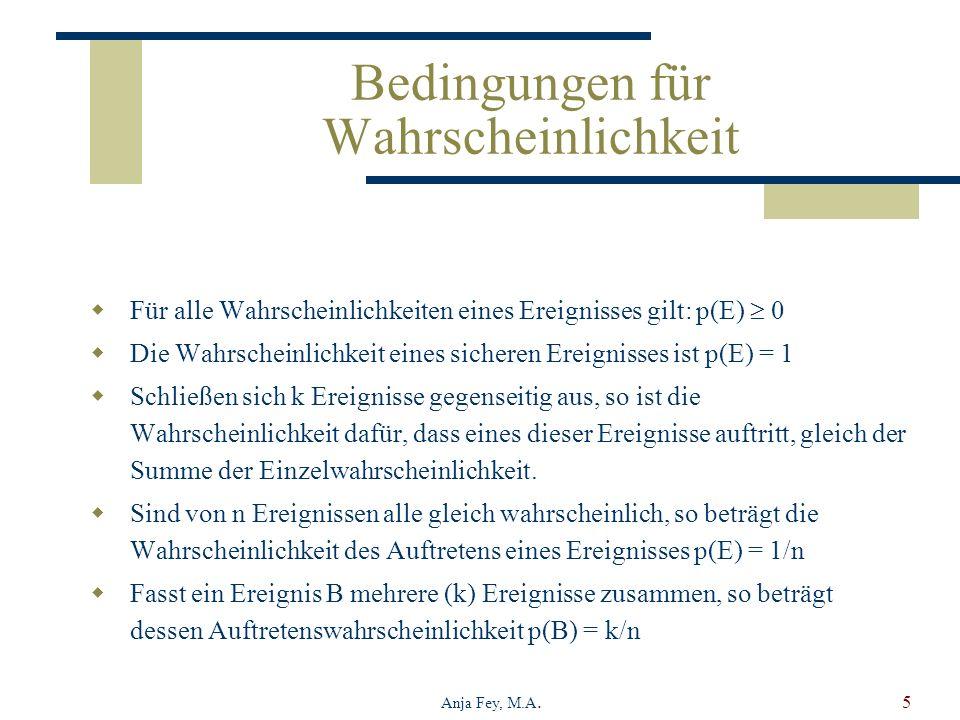 Anja Fey, M.A.5 Bedingungen für Wahrscheinlichkeit Für alle Wahrscheinlichkeiten eines Ereignisses gilt: p(E) 0 Die Wahrscheinlichkeit eines sicheren