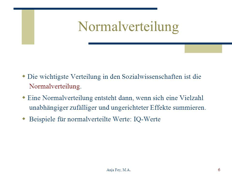 Anja Fey, M.A.6 Normalverteilung Die wichtigste Verteilung in den Sozialwissenschaften ist die Normalverteilung. Eine Normalverteilung entsteht dann,