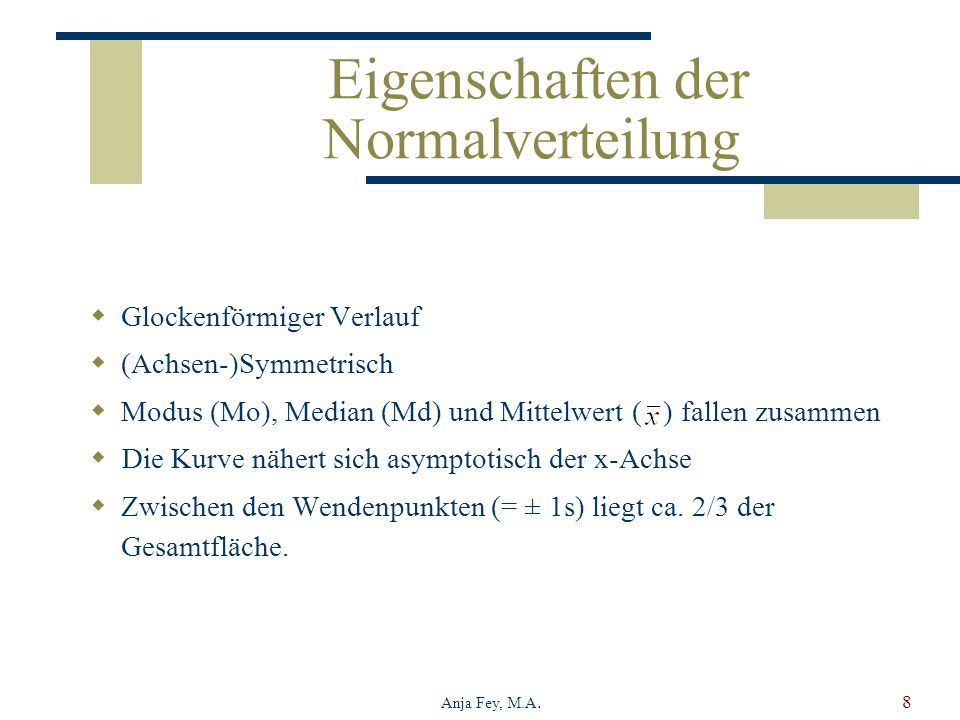 Anja Fey, M.A.8 Eigenschaften der Normalverteilung Glockenförmiger Verlauf (Achsen-)Symmetrisch Modus (Mo), Median (Md) und Mittelwert ( ) fallen zusa
