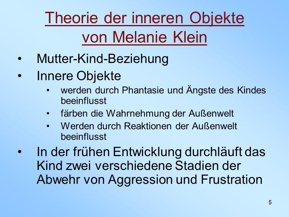 5 Theorie der inneren Objekte von Melanie Klein Mutter-Kind-Beziehung Innere Objekte werden durch Phantasie und Ängste des Kindes beeinflusst färben d