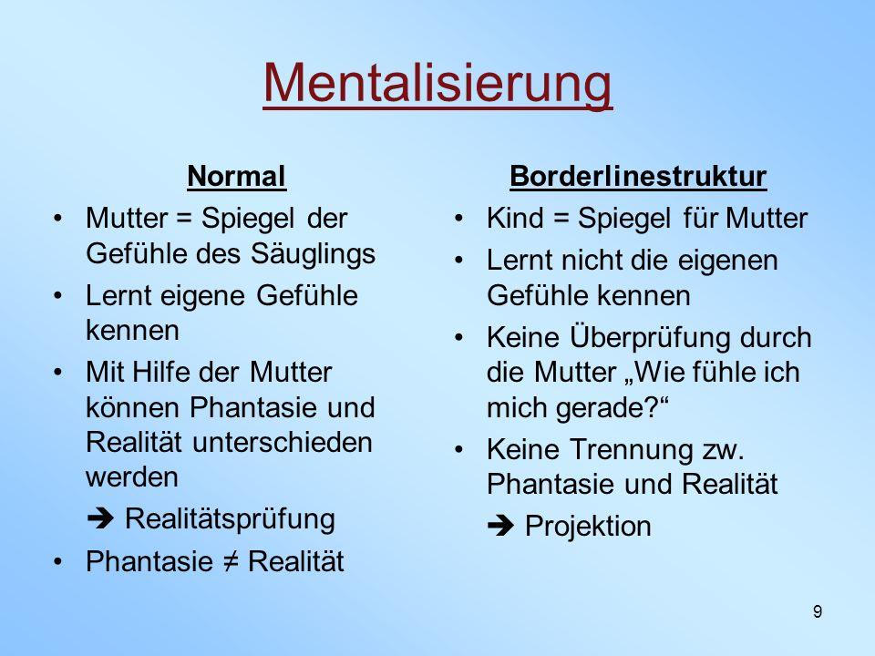 9 Mentalisierung Normal Mutter = Spiegel der Gefühle des Säuglings Lernt eigene Gefühle kennen Mit Hilfe der Mutter können Phantasie und Realität unte