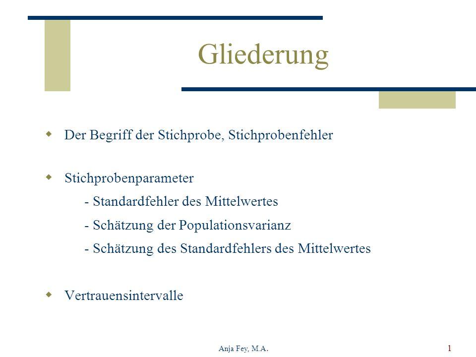 Anja Fey, M.A.1 Gliederung Der Begriff der Stichprobe, Stichprobenfehler Stichprobenparameter - Standardfehler des Mittelwertes - Schätzung der Popula