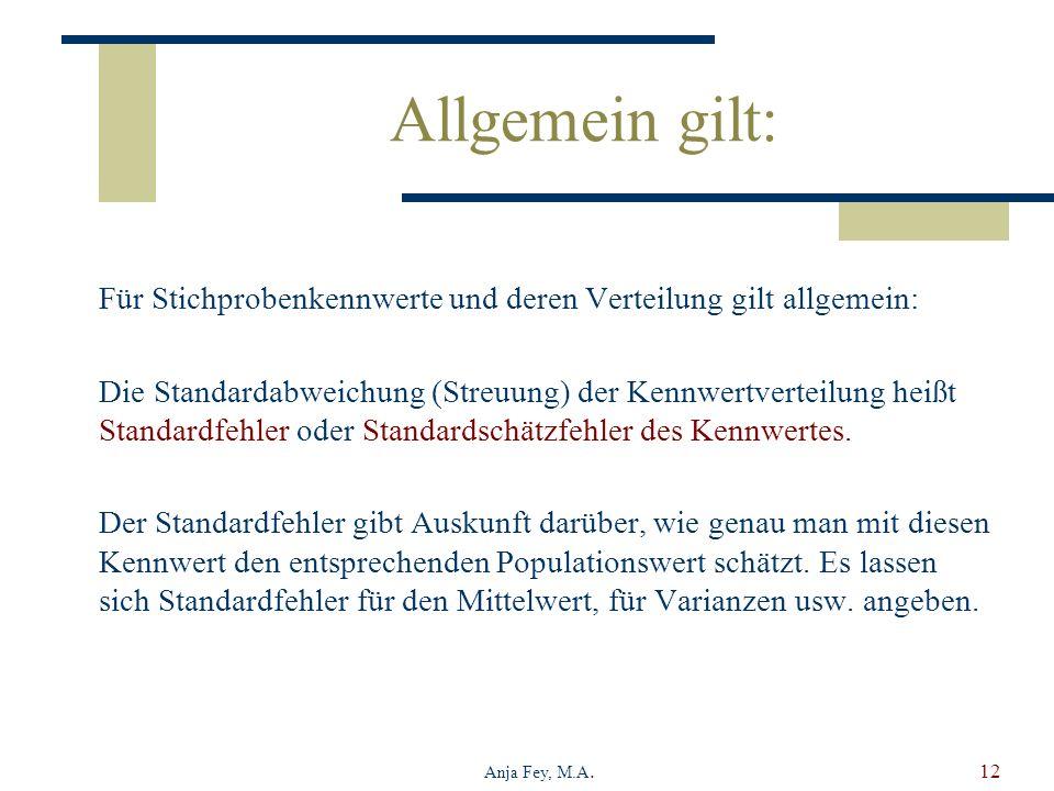 Anja Fey, M.A.12 Allgemein gilt: Für Stichprobenkennwerte und deren Verteilung gilt allgemein: Die Standardabweichung (Streuung) der Kennwertverteilung heißt Standardfehler oder Standardschätzfehler des Kennwertes.