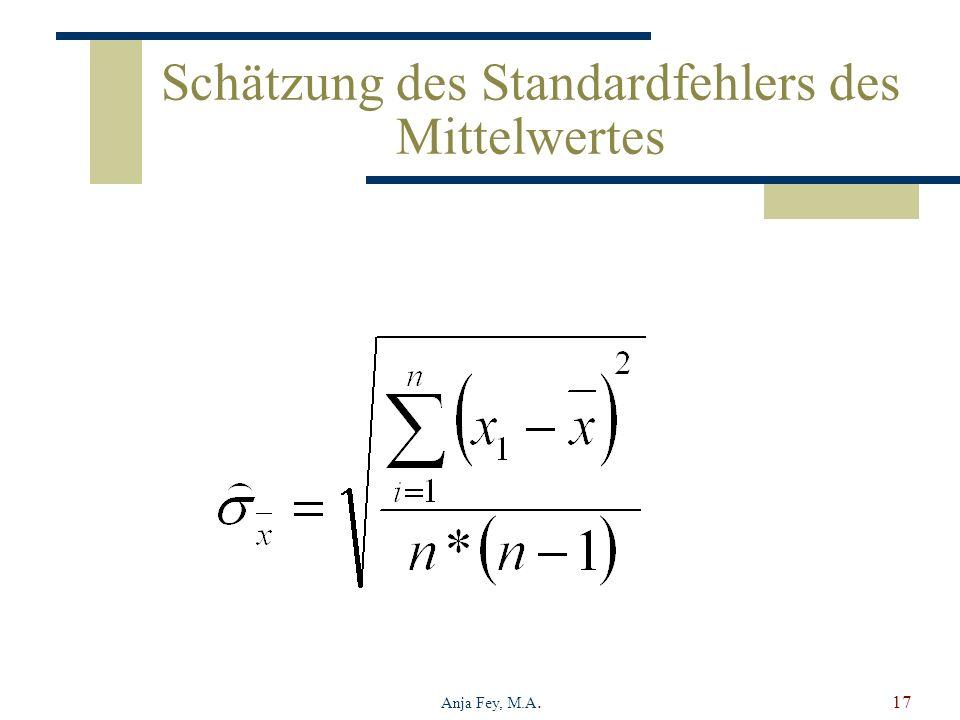 Anja Fey, M.A.17 Schätzung des Standardfehlers des Mittelwertes