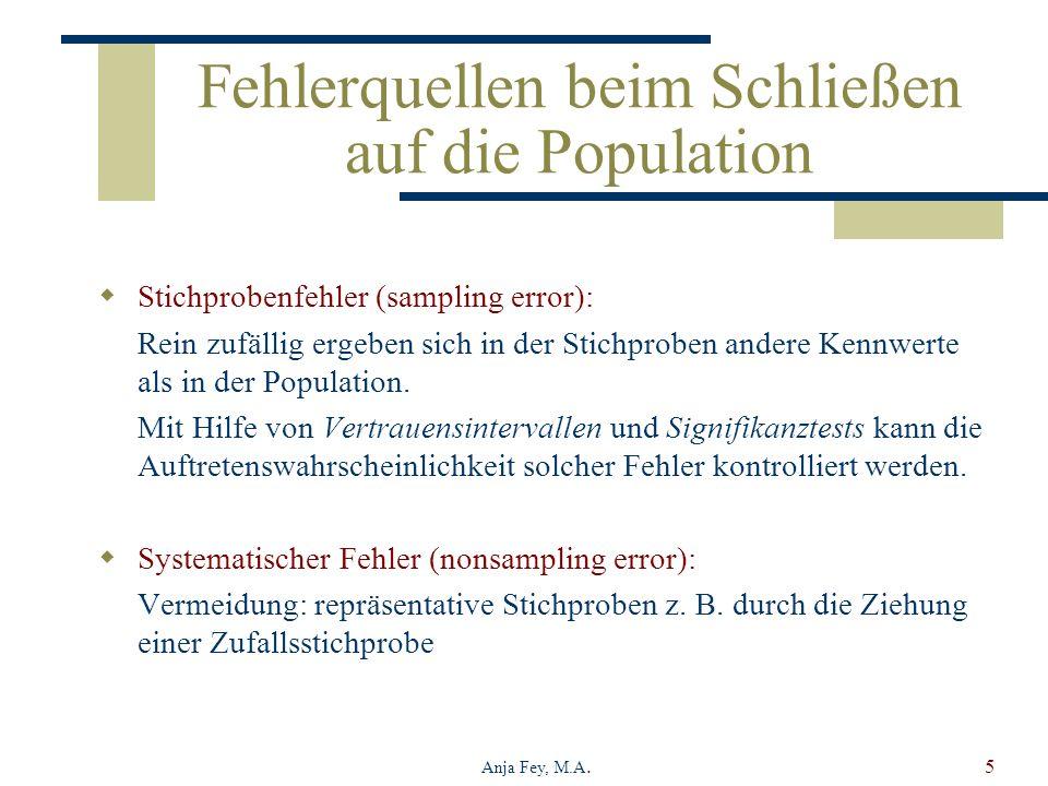 Anja Fey, M.A.5 Fehlerquellen beim Schließen auf die Population Stichprobenfehler (sampling error): Rein zufällig ergeben sich in der Stichproben andere Kennwerte als in der Population.