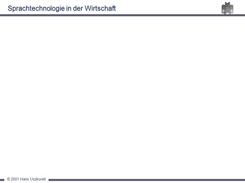 © 2001 Hans Uszkoreit Sprachtechnologie in der Wirtschaft