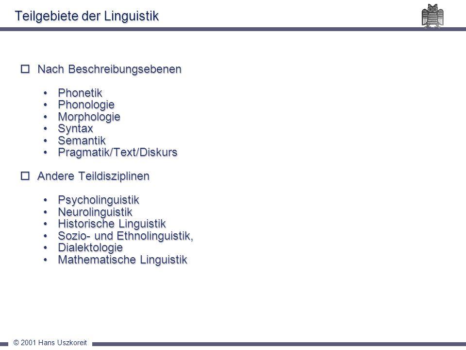 © 2001 Hans Uszkoreit Nach Beschreibungsebenen Nach Beschreibungsebenen PhonetikPhonetik PhonologiePhonologie MorphologieMorphologie SyntaxSyntax Sema