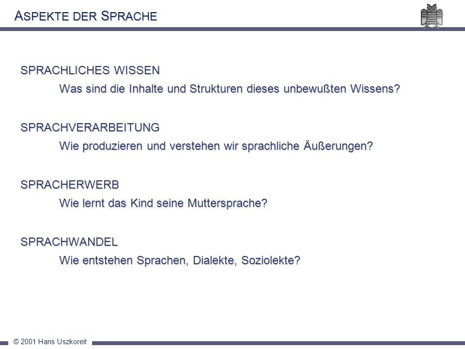 © 2001 Hans Uszkoreit A SPEKTE DER S PRACHE SPRACHLICHES WISSEN Was sind die Inhalte und Strukturen dieses unbewußten Wissens? SPRACHVERARBEITUNG Wie