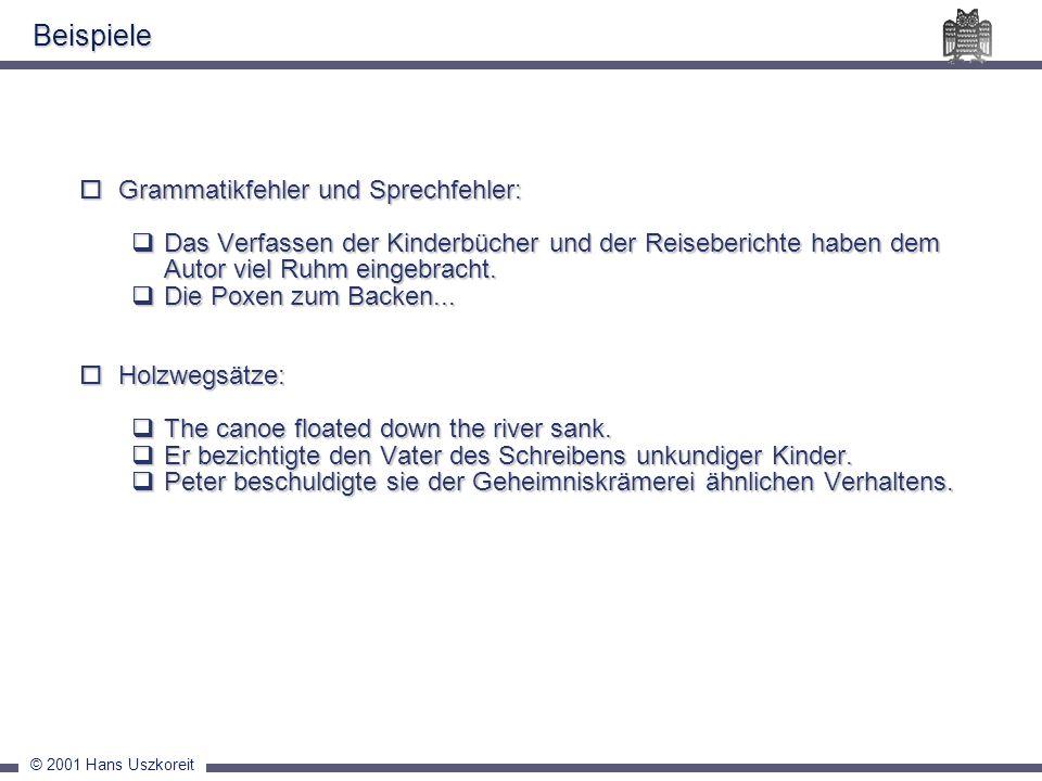 © 2001 Hans Uszkoreit Grammatikfehler und Sprechfehler: Grammatikfehler und Sprechfehler: Das Verfassen der Kinderbücher und der Reiseberichte haben d