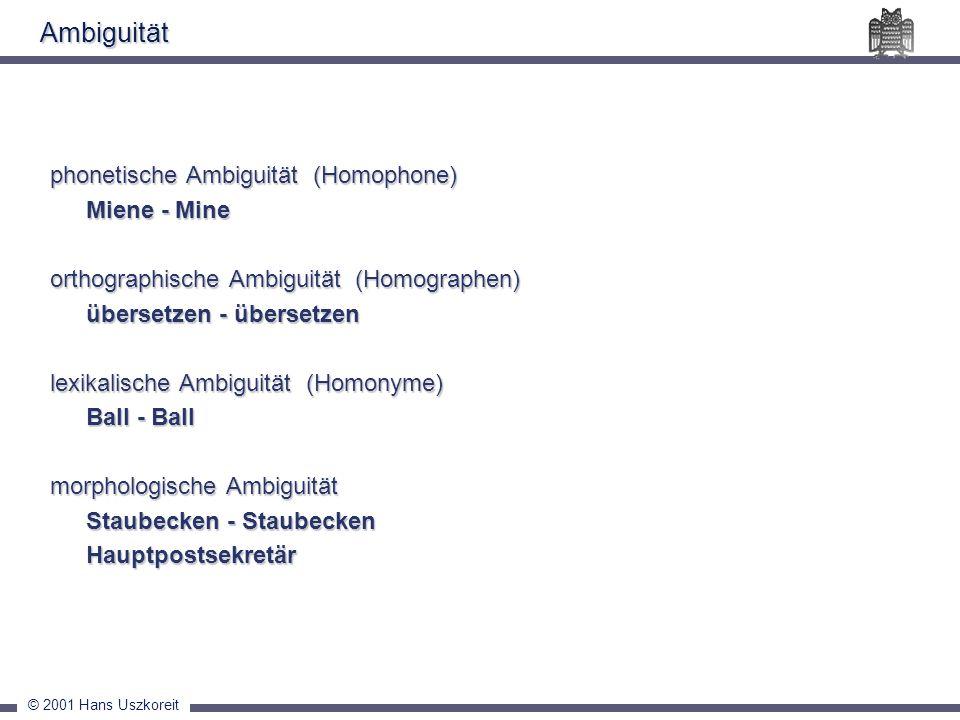 © 2001 Hans Uszkoreit Ambiguität phonetische Ambiguität (Homophone) Miene - Mine orthographische Ambiguität (Homographen) übersetzen - übersetzen lexi