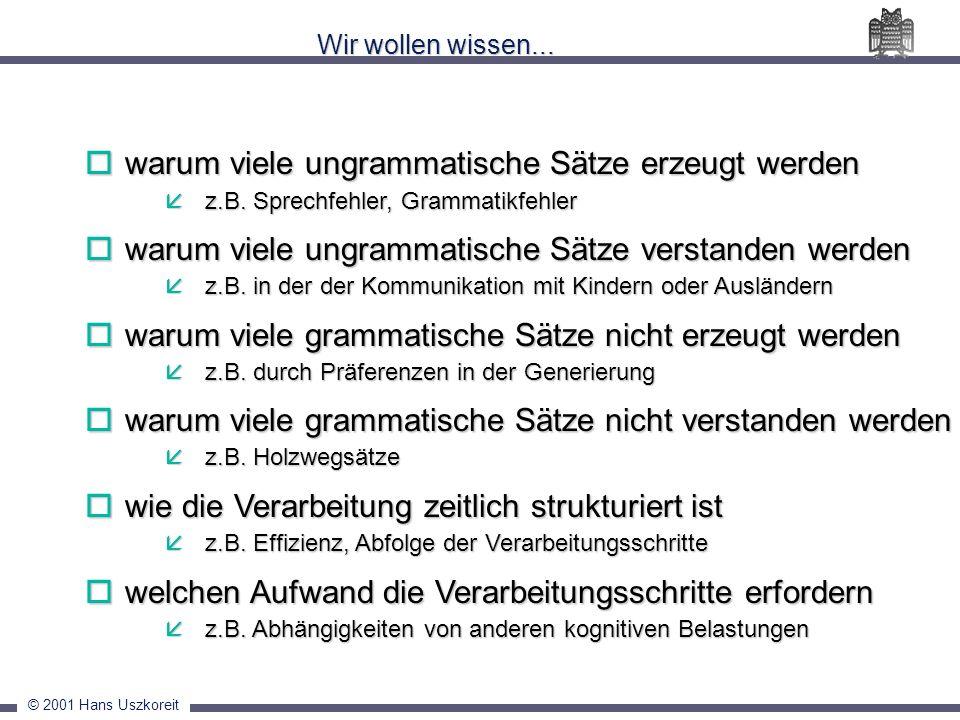 © 2001 Hans Uszkoreit Wir wollen wissen... warum viele ungrammatische Sätze erzeugt werden warum viele ungrammatische Sätze erzeugt werden z.B. Sprech
