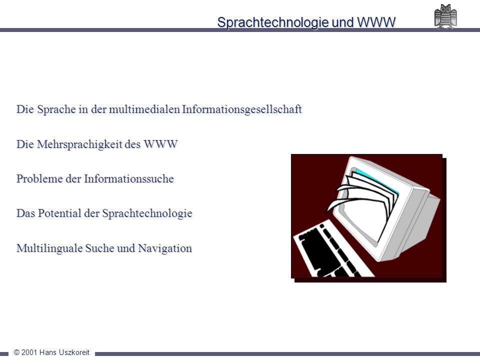 © 2001 Hans Uszkoreit Sprachtechnologie und WWW Die Sprache in der multimedialen Informationsgesellschaft Die Mehrsprachigkeit des WWW Probleme der In
