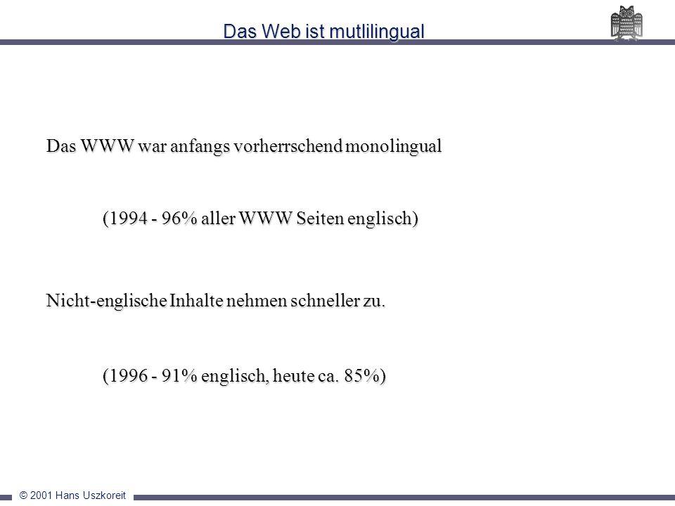© 2001 Hans Uszkoreit Das Web ist mutlilingual Das WWW war anfangs vorherrschend monolingual Das WWW war anfangs vorherrschend monolingual (1994 - 96%