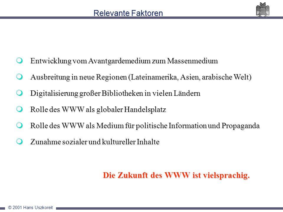 © 2001 Hans Uszkoreit Relevante Faktoren Entwicklung vom Avantgardemedium zum Massenmedium Entwicklung vom Avantgardemedium zum Massenmedium Ausbreitu