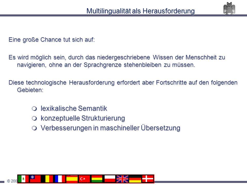 © 2001 Hans Uszkoreit Multilingualität als Herausforderung Eine große Chance tut sich auf: Es wird möglich sein, durch das niedergeschriebene Wissen d