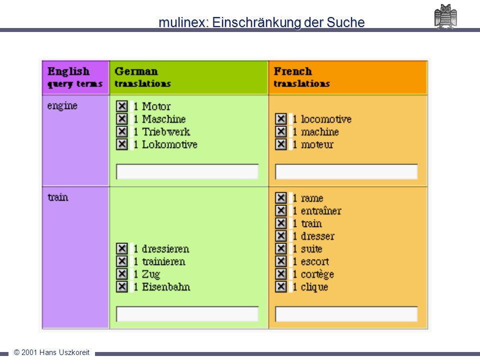 © 2001 Hans Uszkoreit mulinex: Einschränkung der Suche