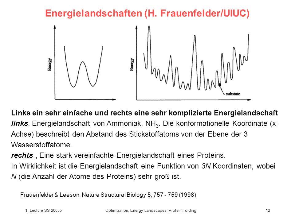 1. Lecture SS 20005Optimization, Energy Landscapes, Protein Folding12 Energielandschaften (H. Frauenfelder/UIUC) Frauenfelder & Leeson, Nature Structu
