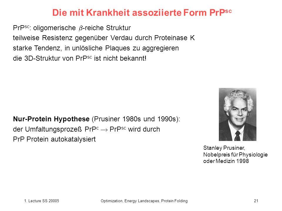 1. Lecture SS 20005Optimization, Energy Landscapes, Protein Folding21 Die mit Krankheit assoziierte Form PrP sc PrP sc : oligomerische -reiche Struktu