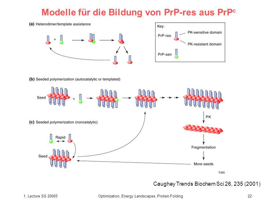 1. Lecture SS 20005Optimization, Energy Landscapes, Protein Folding22 Modelle für die Bildung von PrP-res aus PrP c Caughey Trends Biochem Sci 26, 235