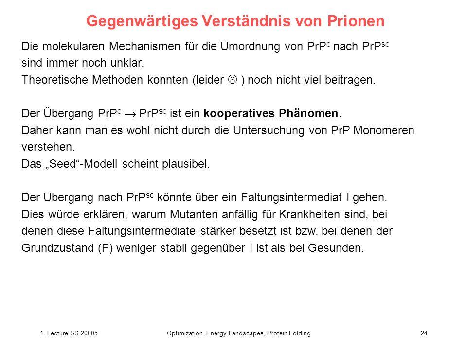 1. Lecture SS 20005Optimization, Energy Landscapes, Protein Folding24 Gegenwärtiges Verständnis von Prionen Die molekularen Mechanismen für die Umordn