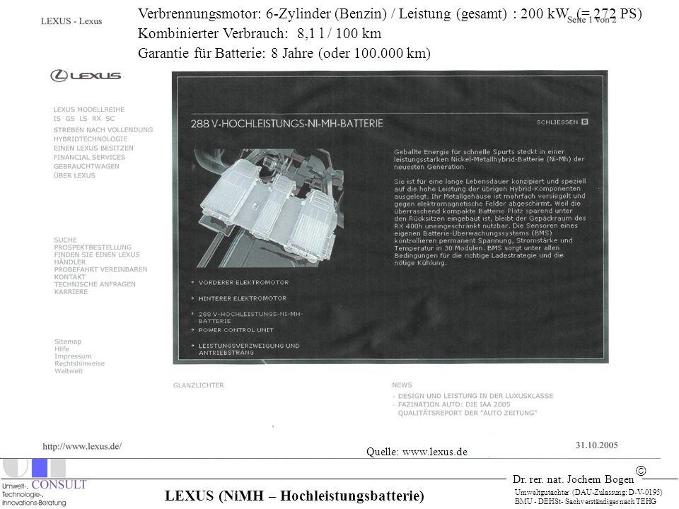 Dr. rer. nat. Jochem Bogen Umweltgutachter (DAU-Zulassung: D-V-0195) BMU - DEHSt- Sachverständiger nach TEHG Quelle: www.lexus.de Verbrennungsmotor: 6