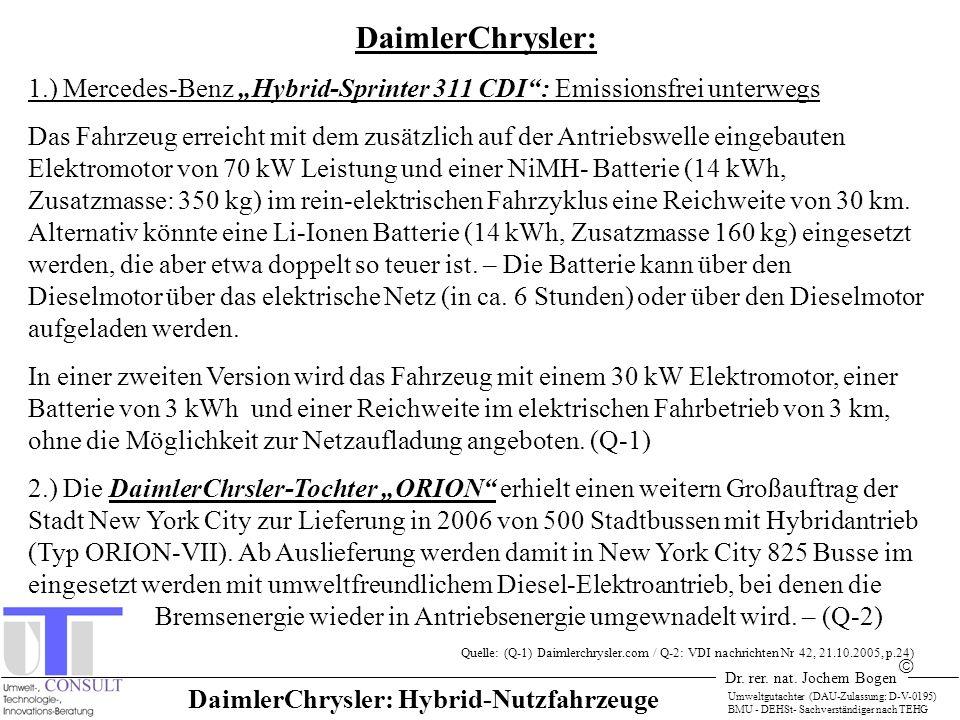 Dr. rer. nat. Jochem Bogen Umweltgutachter (DAU-Zulassung: D-V-0195) BMU - DEHSt- Sachverständiger nach TEHG DaimlerChrysler: 1.) Mercedes-Benz Hybrid