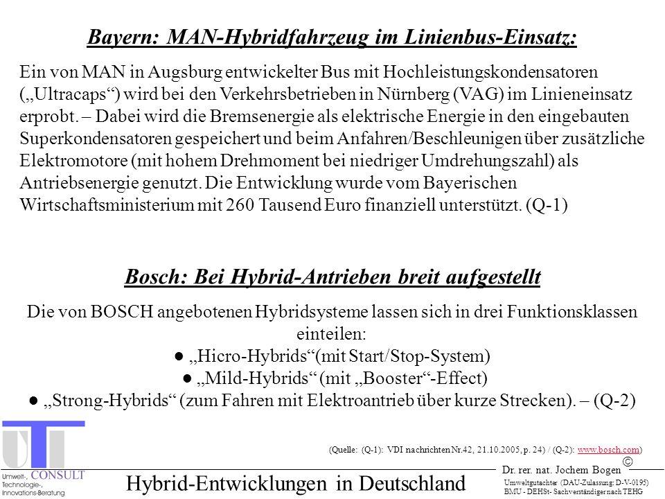 Dr. rer. nat. Jochem Bogen Umweltgutachter (DAU-Zulassung: D-V-0195) BMU - DEHSt- Sachverständiger nach TEHG Hybrid-Entwicklungen in Deutschland Bayer