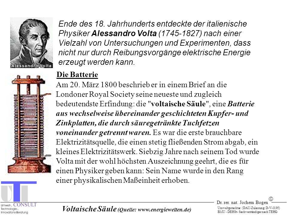 Dr. rer. nat. Jochem Bogen Umweltgutachter (DAU-Zulassung: D-V-0195) BMU - DEHSt- Sachverständiger nach TEHG Voltaische Säule (Quelle: www.energiewelt