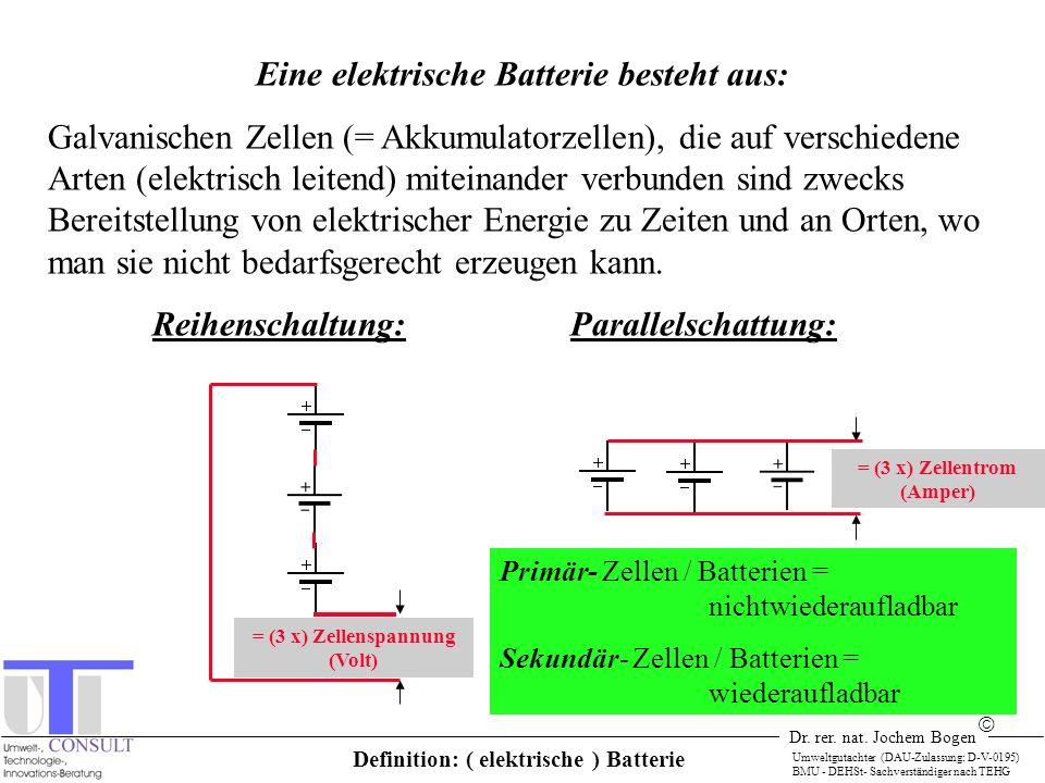 Dr. rer. nat. Jochem Bogen Umweltgutachter (DAU-Zulassung: D-V-0195) BMU - DEHSt- Sachverständiger nach TEHG Eine elektrische Batterie besteht aus: Ga
