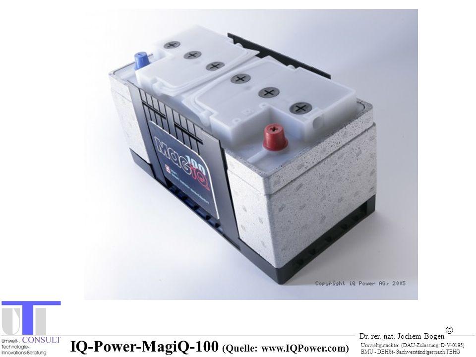 Dr. rer. nat. Jochem Bogen Umweltgutachter (DAU-Zulassung: D-V-0195) BMU - DEHSt- Sachverständiger nach TEHG IQ-Power-MagiQ-100 (Quelle: www.IQPower.c