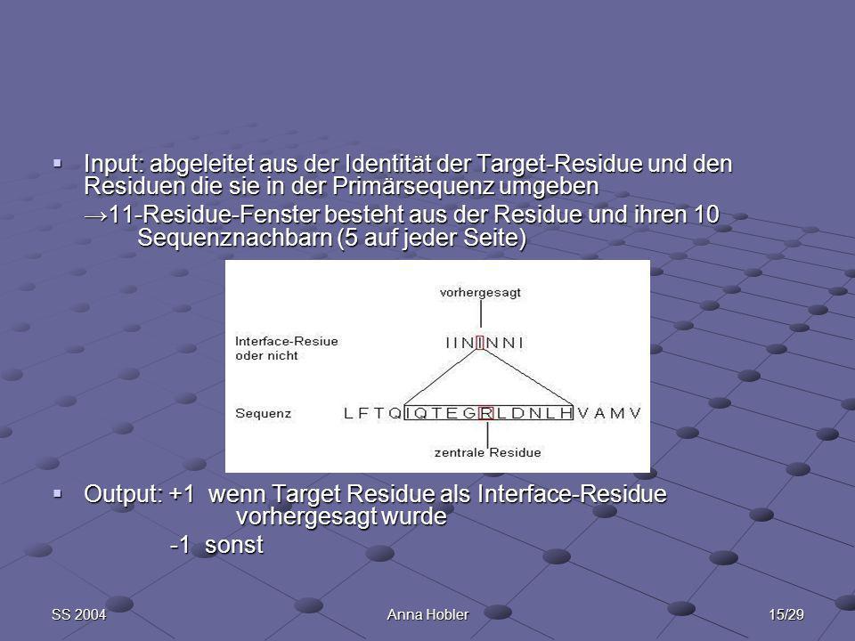 15/29SS 2004Anna Hobler Input: abgeleitet aus der Identität der Target-Residue und den Residuen die sie in der Primärsequenz umgeben Input: abgeleitet aus der Identität der Target-Residue und den Residuen die sie in der Primärsequenz umgeben 11-Residue-Fenster besteht aus der Residue und ihren 10 Sequenznachbarn (5 auf jeder Seite)11-Residue-Fenster besteht aus der Residue und ihren 10 Sequenznachbarn (5 auf jeder Seite) Output: +1 wenn Target Residue als Interface-Residue vorhergesagt wurde Output: +1 wenn Target Residue als Interface-Residue vorhergesagt wurde -1 sonst -1 sonst