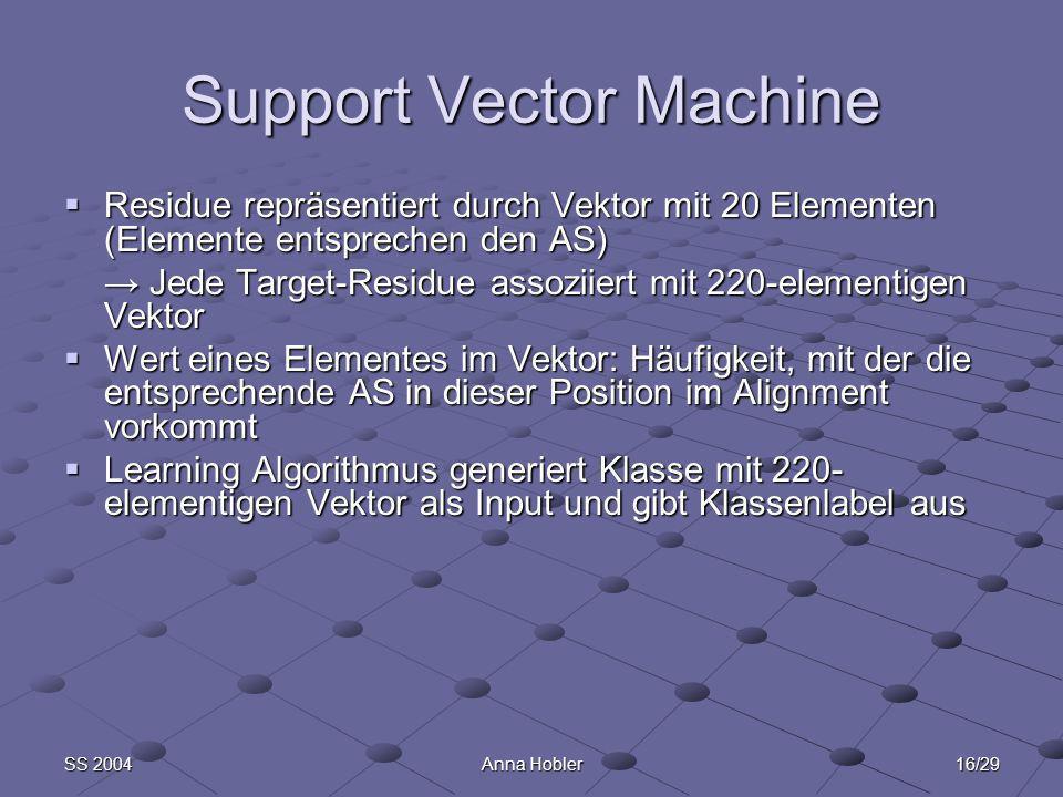 16/29SS 2004Anna Hobler Support Vector Machine Residue repräsentiert durch Vektor mit 20 Elementen (Elemente entsprechen den AS) Residue repräsentiert durch Vektor mit 20 Elementen (Elemente entsprechen den AS) Jede Target-Residue assoziiert mit 220-elementigen Vektor Jede Target-Residue assoziiert mit 220-elementigen Vektor Wert eines Elementes im Vektor: Häufigkeit, mit der die entsprechende AS in dieser Position im Alignment vorkommt Wert eines Elementes im Vektor: Häufigkeit, mit der die entsprechende AS in dieser Position im Alignment vorkommt Learning Algorithmus generiert Klasse mit 220- elementigen Vektor als Input und gibt Klassenlabel aus Learning Algorithmus generiert Klasse mit 220- elementigen Vektor als Input und gibt Klassenlabel aus