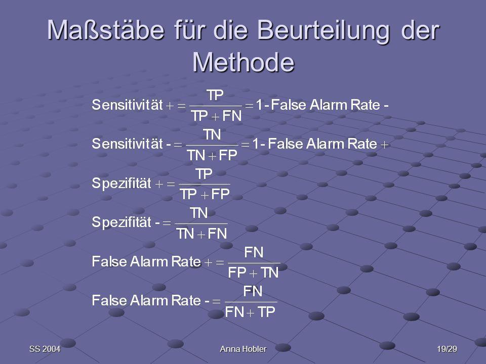 19/29SS 2004Anna Hobler Maßstäbe für die Beurteilung der Methode