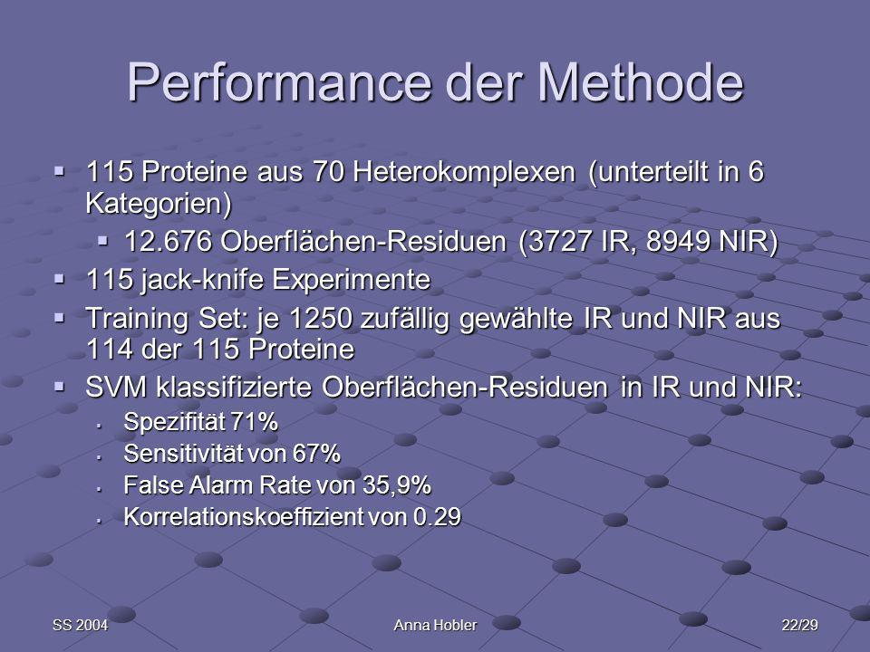 22/29SS 2004Anna Hobler Performance der Methode 115 Proteine aus 70 Heterokomplexen (unterteilt in 6 Kategorien) 115 Proteine aus 70 Heterokomplexen (unterteilt in 6 Kategorien) 12.676 Oberflächen-Residuen (3727 IR, 8949 NIR) 12.676 Oberflächen-Residuen (3727 IR, 8949 NIR) 115 jack-knife Experimente 115 jack-knife Experimente Training Set: je 1250 zufällig gewählte IR und NIR aus 114 der 115 Proteine Training Set: je 1250 zufällig gewählte IR und NIR aus 114 der 115 Proteine SVM klassifizierte Oberflächen-Residuen in IR und NIR: SVM klassifizierte Oberflächen-Residuen in IR und NIR: Spezifität 71% Spezifität 71% Sensitivität von 67% Sensitivität von 67% False Alarm Rate von 35,9% False Alarm Rate von 35,9% Korrelationskoeffizient von 0.29 Korrelationskoeffizient von 0.29