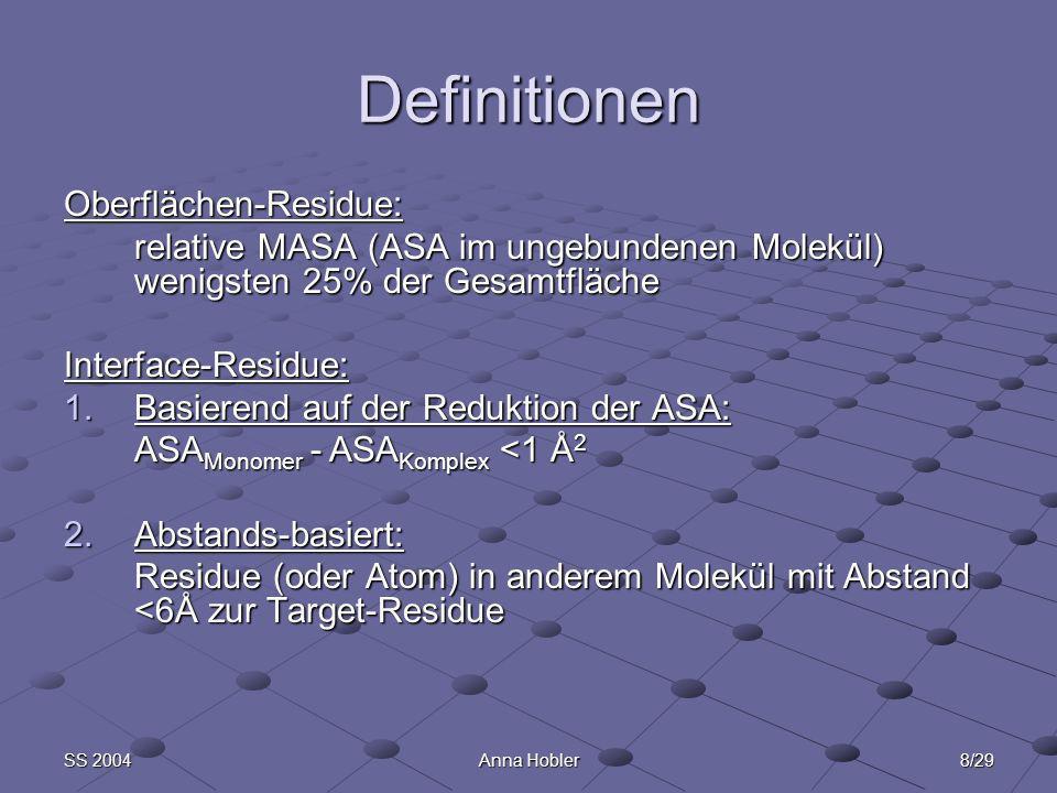 8/29SS 2004Anna Hobler Definitionen Oberflächen-Residue: relative MASA (ASA im ungebundenen Molekül) wenigsten 25% der Gesamtfläche Interface-Residue: 1.Basierend auf der Reduktion der ASA: ASA Monomer - ASA Komplex <1 Å 2 2.Abstands-basiert: Residue (oder Atom) in anderem Molekül mit Abstand <6Å zur Target-Residue