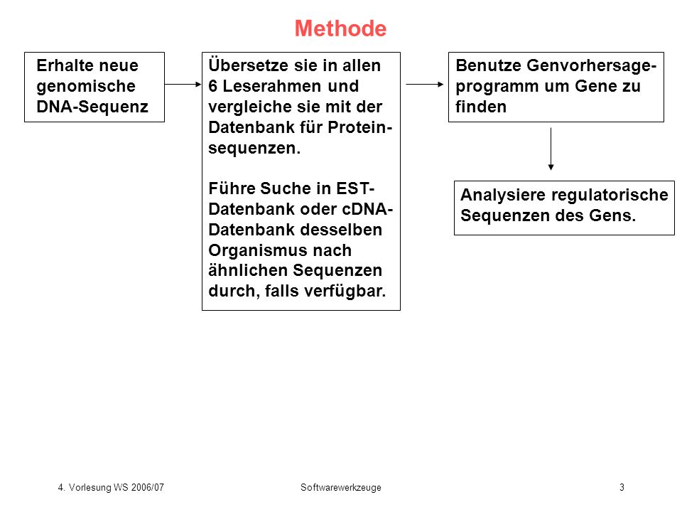4. Vorlesung WS 2006/07Softwarewerkzeuge3 Methode Erhalte neue genomische DNA-Sequenz Übersetze sie in allen 6 Leserahmen und vergleiche sie mit der D