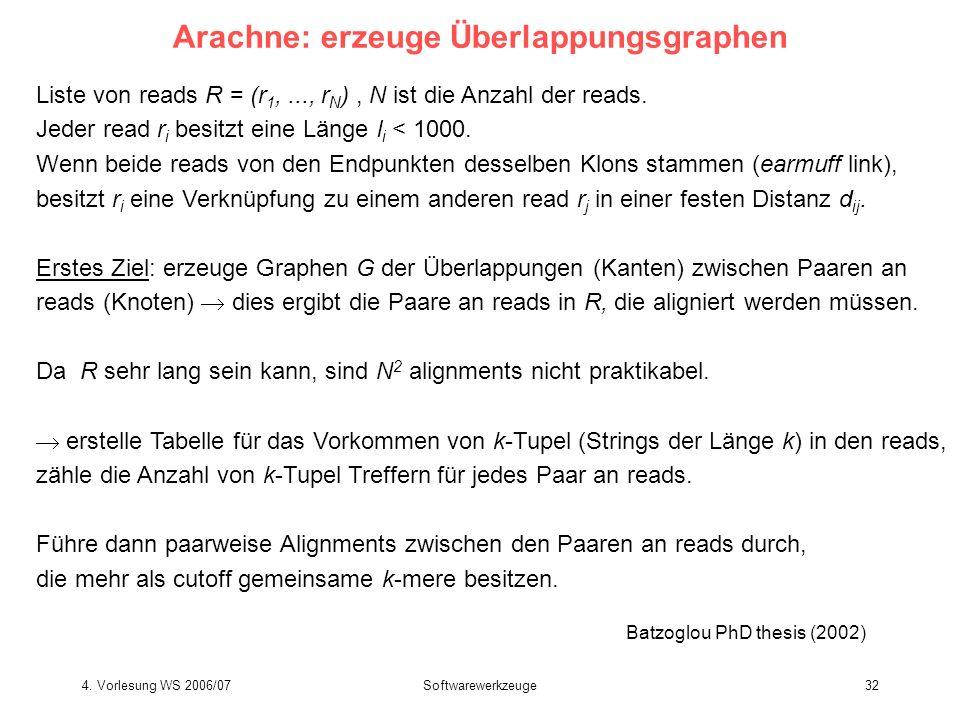 4. Vorlesung WS 2006/07Softwarewerkzeuge32 Arachne: erzeuge Überlappungsgraphen Liste von reads R = (r 1,..., r N ), N ist die Anzahl der reads. Jeder