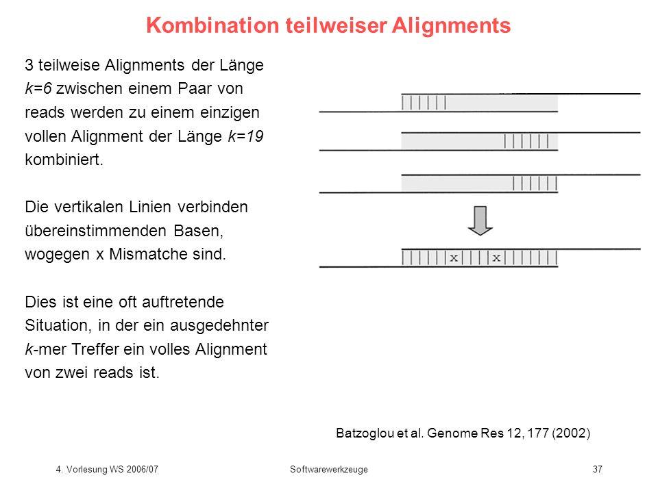 4. Vorlesung WS 2006/07Softwarewerkzeuge37 Kombination teilweiser Alignments 3 teilweise Alignments der Länge k=6 zwischen einem Paar von reads werden