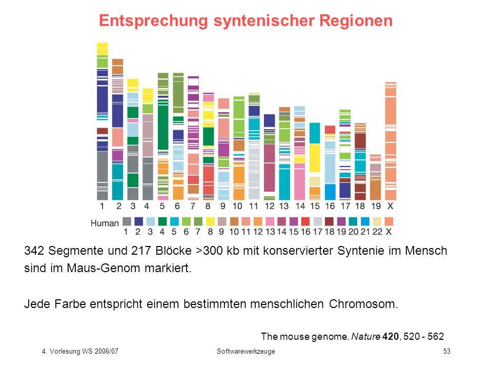 4. Vorlesung WS 2006/07Softwarewerkzeuge53 The mouse genome. Nature 420, 520 - 562 Entsprechung syntenischer Regionen 342 Segmente und 217 Blöcke >300