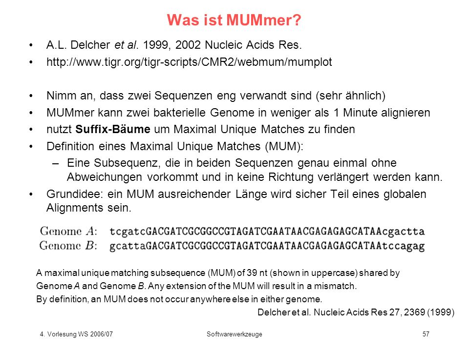 4. Vorlesung WS 2006/07Softwarewerkzeuge57 Was ist MUMmer? A.L. Delcher et al. 1999, 2002 Nucleic Acids Res. http://www.tigr.org/tigr-scripts/CMR2/web
