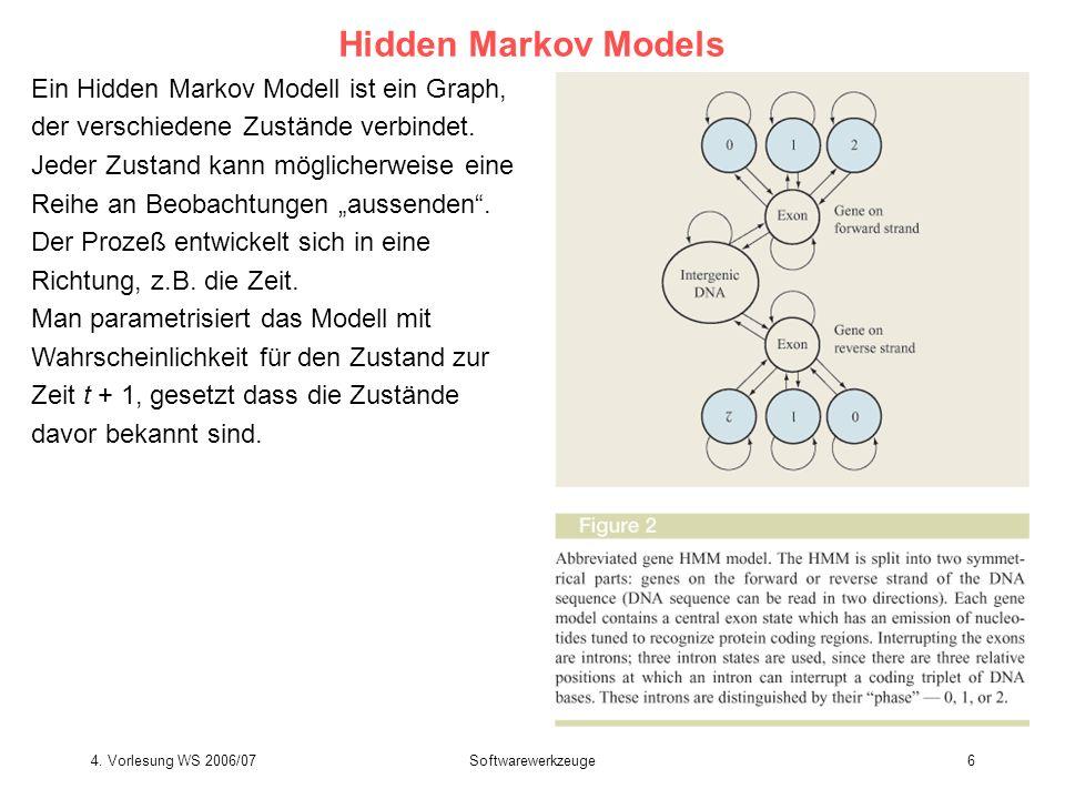 4. Vorlesung WS 2006/07Softwarewerkzeuge6 Hidden Markov Models Ein Hidden Markov Modell ist ein Graph, der verschiedene Zustände verbindet. Jeder Zust