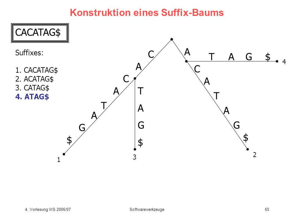 4. Vorlesung WS 2006/07Softwarewerkzeuge65 Konstruktion eines Suffix-Baums CACATAG$ Suffixes: 1. CACATAG$ 2. ACATAG$ 3. CATAG$ 4. ATAG$ C A T C A G $