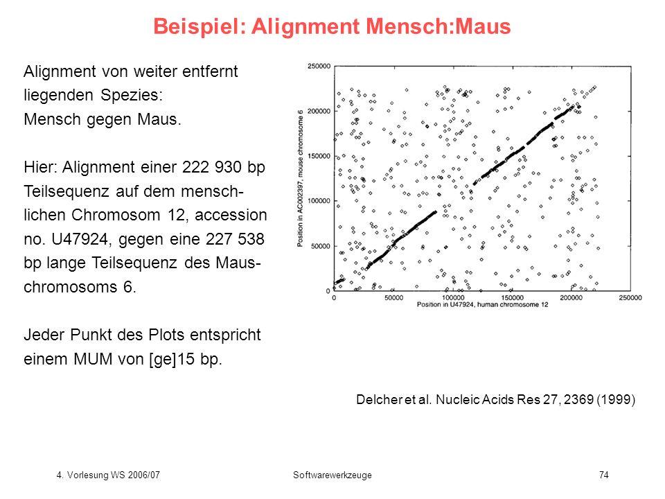 4. Vorlesung WS 2006/07Softwarewerkzeuge74 Beispiel: Alignment Mensch:Maus Delcher et al. Nucleic Acids Res 27, 2369 (1999) Alignment von weiter entfe