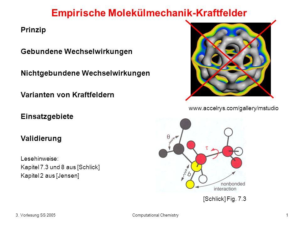 13. Vorlesung SS 2005 Computational Chemistry Empirische Molekülmechanik-Kraftfelder Prinzip Gebundene Wechselwirkungen Nichtgebundene Wechselwirkunge