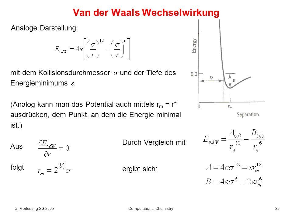 253. Vorlesung SS 2005 Computational Chemistry Van der Waals Wechselwirkung Analoge Darstellung: mit dem Kollisionsdurchmesser und der Tiefe des Energ