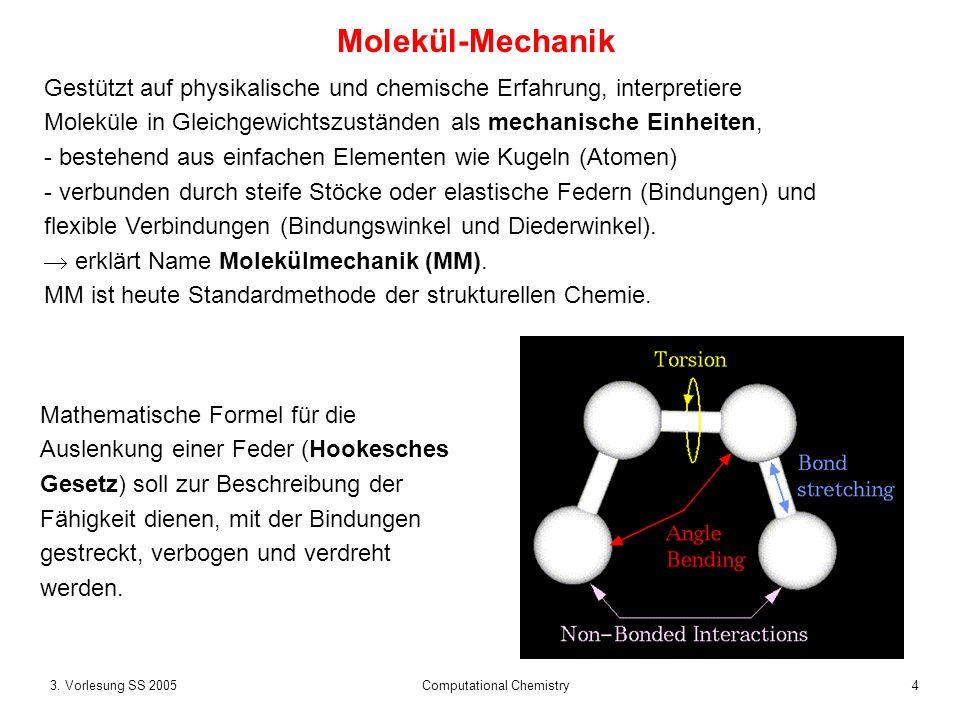 43. Vorlesung SS 2005 Computational Chemistry Molekül-Mechanik Gestützt auf physikalische und chemische Erfahrung, interpretiere Moleküle in Gleichgew