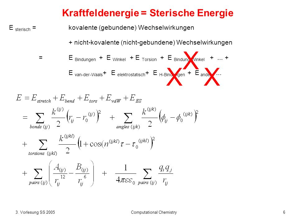 273.Vorlesung SS 2005 Computational Chemistry Elektrostatik: Cut-offs.