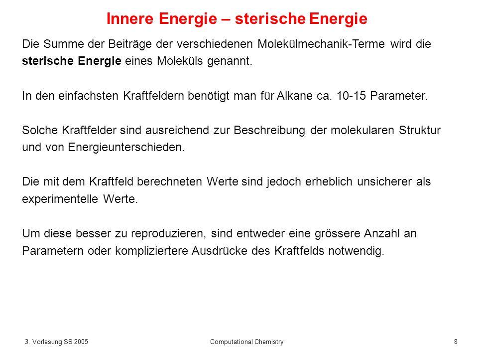 83. Vorlesung SS 2005 Computational Chemistry Innere Energie – sterische Energie Die Summe der Beiträge der verschiedenen Molekülmechanik-Terme wird d