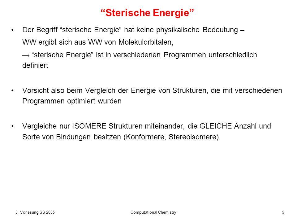 93. Vorlesung SS 2005 Computational Chemistry Der Begriff sterische Energie hat keine physikalische Bedeutung – WW ergibt sich aus WW von Molekülorbit