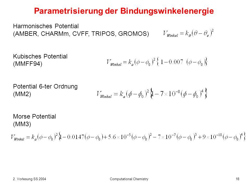 182. Vorlesung SS 2004 Computational Chemistry Parametrisierung der Bindungswinkelenergie Harmonisches Potential (AMBER, CHARMm, CVFF, TRIPOS, GROMOS)
